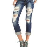 Machine Jeans Destroyed Boyfriend Jean: Charlotte Russe