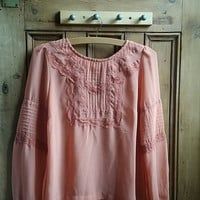 Vintage boho top lace blouse bohemian clothes festival clothing lace clothing sheer top long sleeves small top summer Dolly Topsy Etsy UK