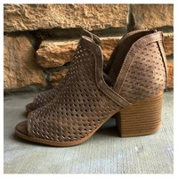 """Style and Flare"" Caged Cutout Open Toe Taupe Heel Booties"