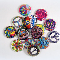"1"" Inch Hippie Peace Signs Flatback Buttons, Pins, Magnets 12 Ct."