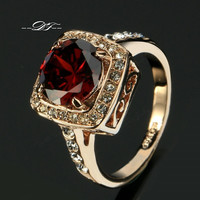 Red Rhinestone Paved CZ Diamond Vintage Finger Ring 18K Gold Plated Fashion Imitation Gemstone Jewelry For Women anel DFR322 = 1946910340