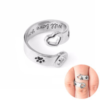 """Dog Paw Print  """"I will love you forever"""" Memorial Ring"""