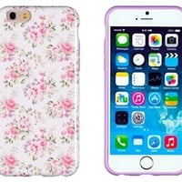 """iPhone 6 Case, DandyCase PERFECT PATTERNNo Chip/No Peel Flexible Slim Case Cover for Apple iPhone 6 (4.7"""" screen) [Pink & Lavender Vintage Floral]"""