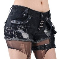 Fashion goth Visual punk rave sexy ripped short Jeans pants S-XXL free shipping