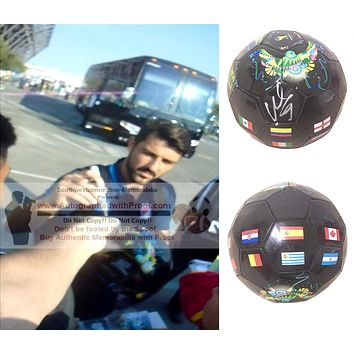 David Villa Autographed 2014 FIFA World Cup Black Soccer Ball, Spain, Espana, New York City, Proof
