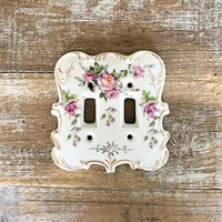 Double Light Switch Cover Ceramic Light Switch Cover Floral Light Switch Plate Home Improvement French Country Light Switch Farmhouse Chic