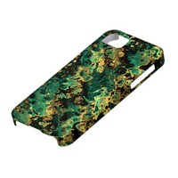 Golden And Turquoise Fractal Art Fabric. Awsome iPhone 5 Case from Zazzle.com