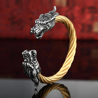 Vintage Punk 316l Stainless Steel Dragon Bracelets For Men Jewelry With Twisted Cable Bangle Mens Accessories Bracelet