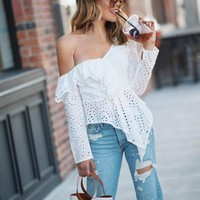 Sexy ruffled cotton lace embroidery white blouse women Asymmetrical one shoulder female blouses Streetwear korean tops