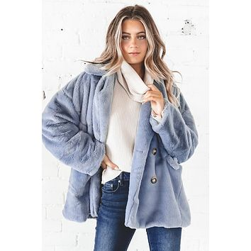 New Girl In Town Ash Blue Faux Fur Jacket