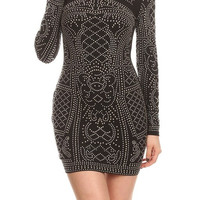 Elaborate Studded Pattern Printed Knit Body Con Dress BCD3485