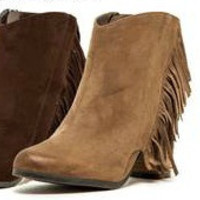 Choc Brown Fringe Booties