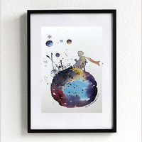 nEW -  The LITTLE PRINCE #3- ORIGINAL Watercolor Le Petit Prince Painting Gift Decor Kids Room Art Wall Decor Home
