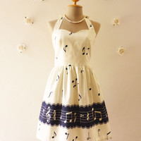 Music Lover White with Navy Hem Dress Retro Party Cocktail Bridesmaid Choir Birthday Concert Event Every Day Dress -Size XS,S,M