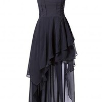 DRESS PARTY CHIFFON TAIL-HEM STRAPLESS