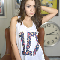 1D Floral Graphic Printed Tank