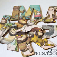 Where The Wild Things Are Personalised Wooden Name Letters –  Nursery Wall Decor –  I Love You So – Story Book Letters – 3MM Baltic Wood