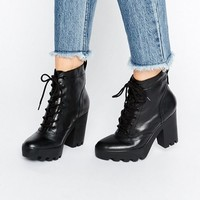 Calvin Klein Jeans Serena Chunky Heeled Leather Lace Up Heeled Ankle Boots at asos.com