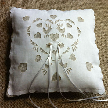 Love birds linen and laser cut ring bearer pillow, with pearls, rustic wedding chic