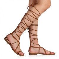 Raven Lace Up Flats in Tan