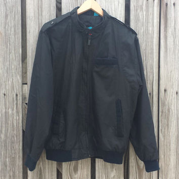 """Vintage 1980s SASSON Member's Only Style Black Cafe Racer Jacket - SZ S/M Chest 44"""""""