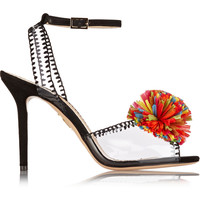 Charlotte Olympia - Pom embellished PVC and suede sandals