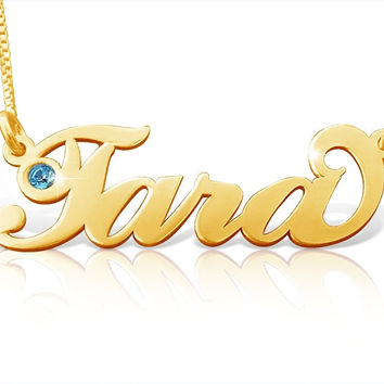 Any Name Necklace my ORDER ANY NAME 18k Gold Plated Birthstone Style monogram pendant chain nameplate tag Yellow gold personalized nameplate