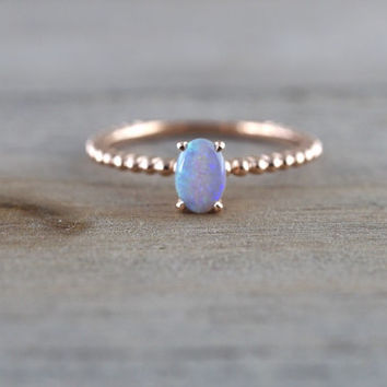 14k Rose Gold Blue Fire Opal Oval Shape Engagement Promise Ring Anniversary Wedding Love Bead Rope Design 6mm