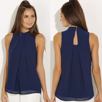 Women Sleeveless Chiffon Blouse Shirt - Black/Blue