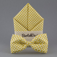 Mustard Bow Tie Pocket Square Matching Set Bow Tie Handkerchief Yellow Bow Tie for Men Wedding Set for Groom Mens Bow Tie Mustard Hanky
