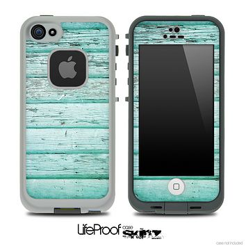 Aqua Blue Aged V2 Wood Skin for the iPhone 5 or 4/4s LifeProof Case