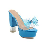 Women's Bow Platform Chunky Sandals Outdoor Slippers