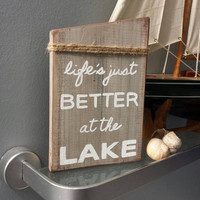 Rustic Lake House Wall Art. Cottage-Chic Lake Sign.