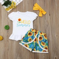 US Hot Toddler Kid Baby Girl TopsT-shirt Flower Short Pants 3Pcs Outfits Clothes