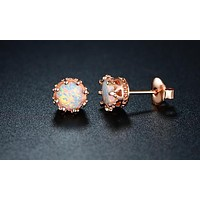 Fire Opal Crown Stud Earrings in 18K Rose Gold