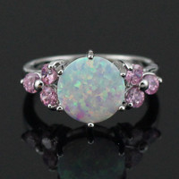 White Fire Opal Pink Topaz Ring