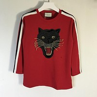 Oversize cotton T-shirt with panther