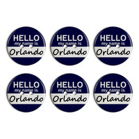 Orlando Hello My Name Is Plastic Resin Button Set of 6