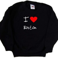 I Love Heart Boston Black Kids Sweatshirt