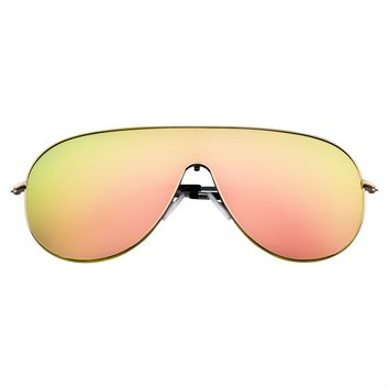Futuristic Retro Modern Mirrored Flat Lens Oversized Shield Sunglasses