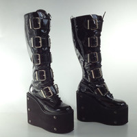 90's Studded Mega Platform Industrial Buckle Cyber Goth Leather Boots // 7.5