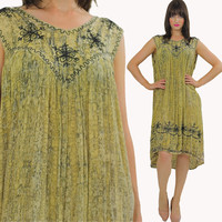 Boho Embroidered Hippie India Tent dress Bohemian M L