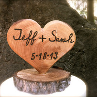 Rustic wedding cake topper wooden heart country by MomoRadRose