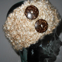 Headband Ear Warmer Hair Band with 2 Natural Coconut Buttons Cream & Taupe Mix Ready to Ship