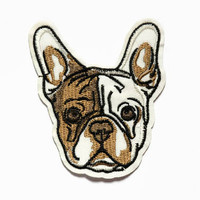 Iron On Patch - Dog Patch - French Bulldog Gift Patch Pug Cute Patches French Bulldog Clothing Fabric Dog Applique Pug Patch Embroidered Dog