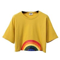 Rainbow Hippie Crop Top