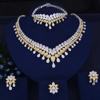 Vintage Trendy Luxury Water Drop African Lariat Wedding Zircon CZ Indian Beads Bridal jewelry Sets