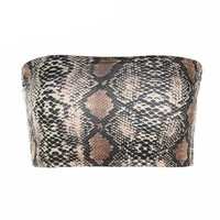 Snake Print Strapless Bandeau Crop Top