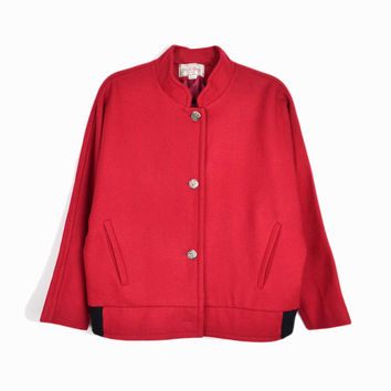 Vintage 80s Red Wool Jacket with Dolman Sleeves / Valdecrafts Vermont - women's medium