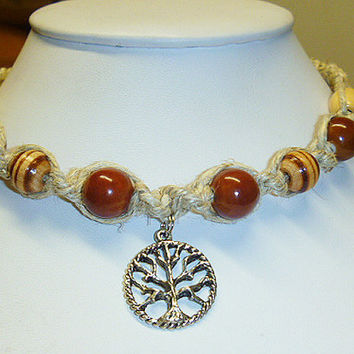 Nice and Natural  Tree  of Life Hemp Necklace    wicca  hippie NEW